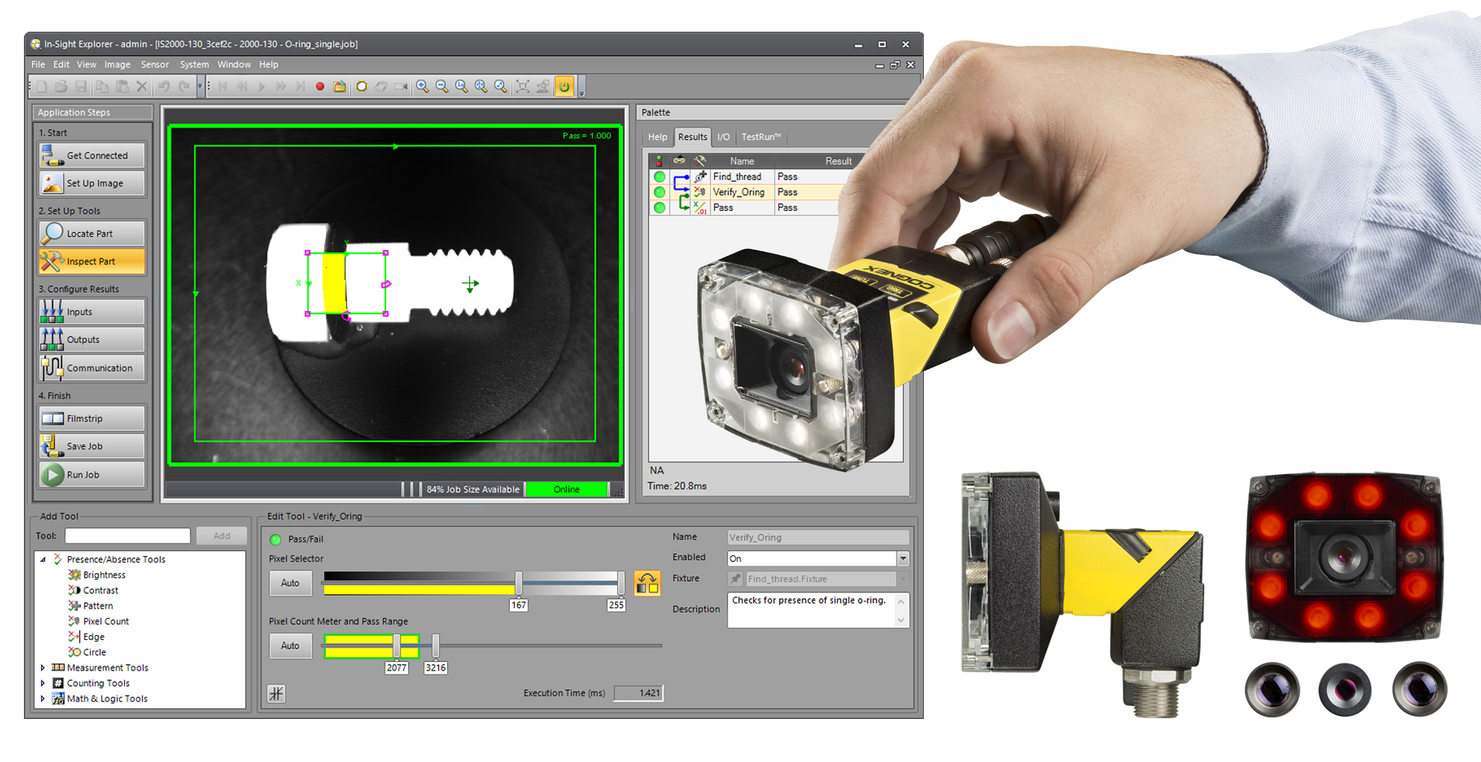 EasyBuilder software behind hand holding In-Sight-2000 and modular accessories