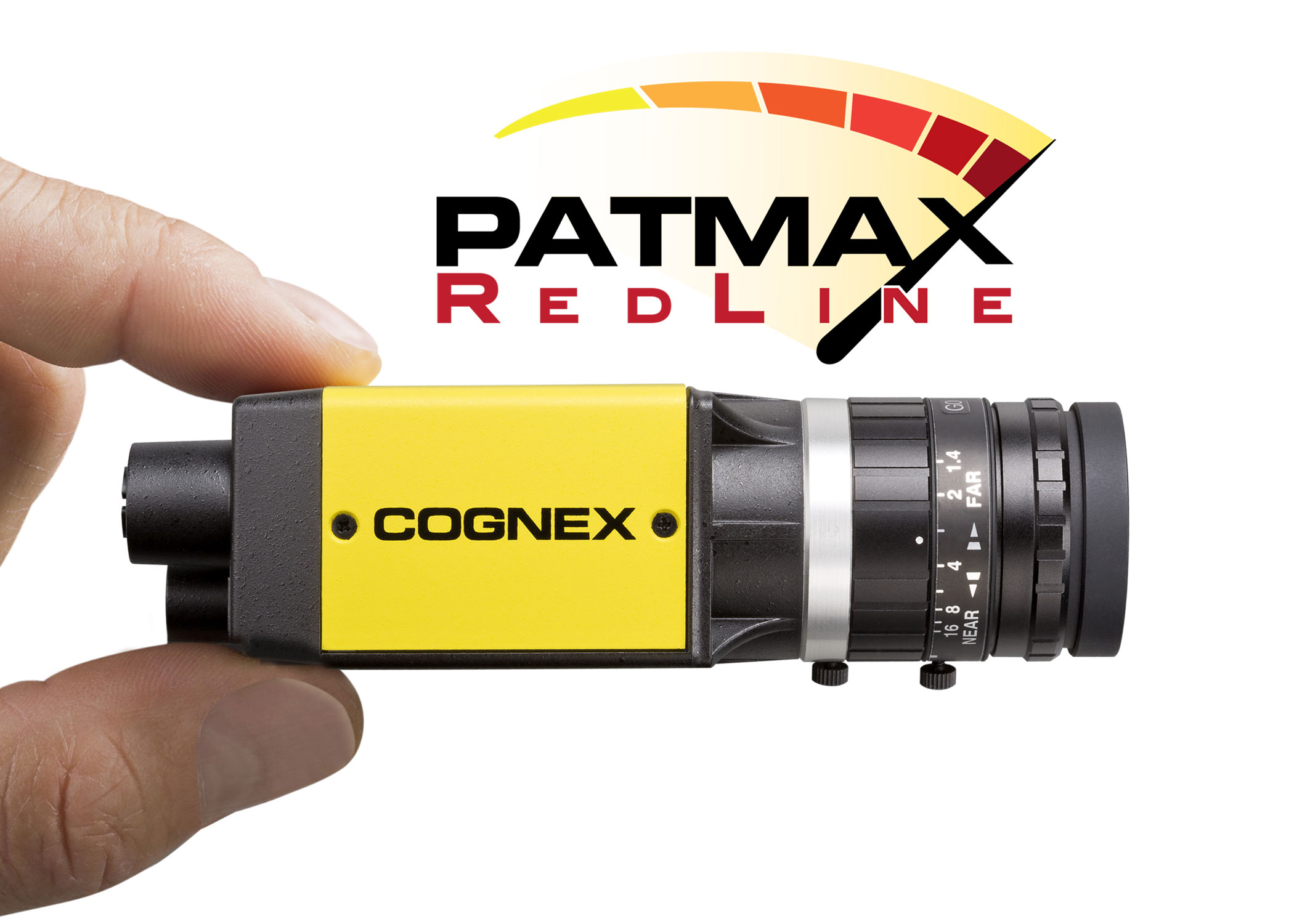fingers holding cognex IS8000 with patmax redline logo