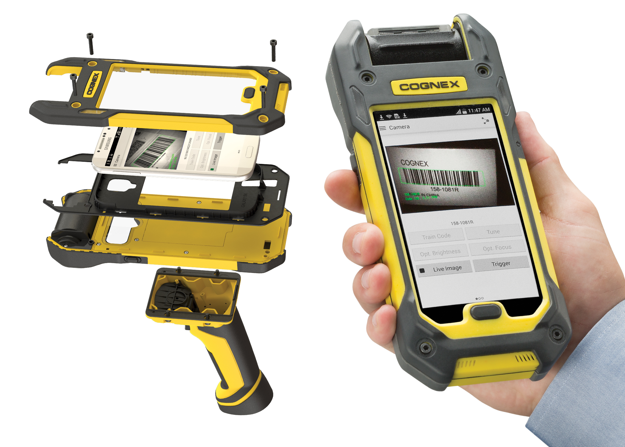 cognex MX1000 mobile terminal pieces and assembled handheld mobile computer