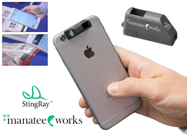 Stingray attachable iphone barcode scanning accessory manatee works logo