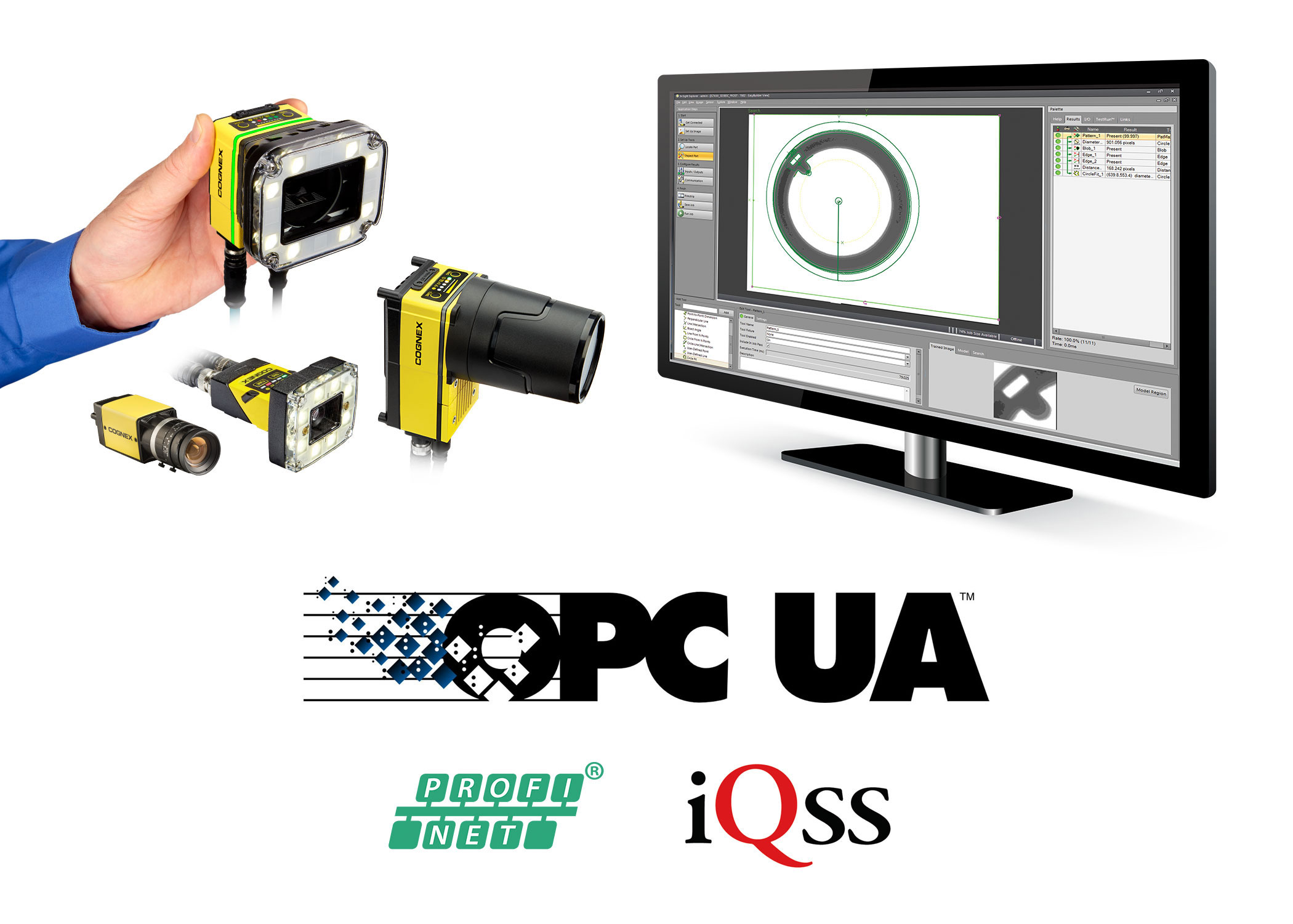 OPC-UA PROFINET iQSS cognex vision systems and software on monitor