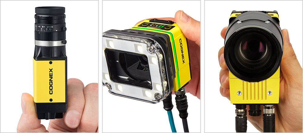 hand holding 2d machine vision cognex products is8000, in-sight 7000, and in sight 9000