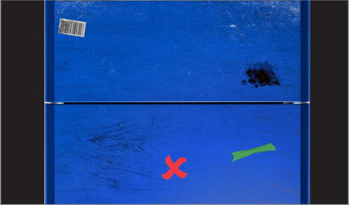 System minimizes false detection due to hygiene problems on blue surface
