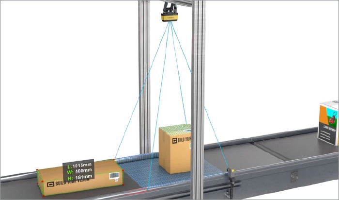 3D-A1000 above a conveyer with boxes