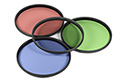 Red, blue, green and clear lens filters