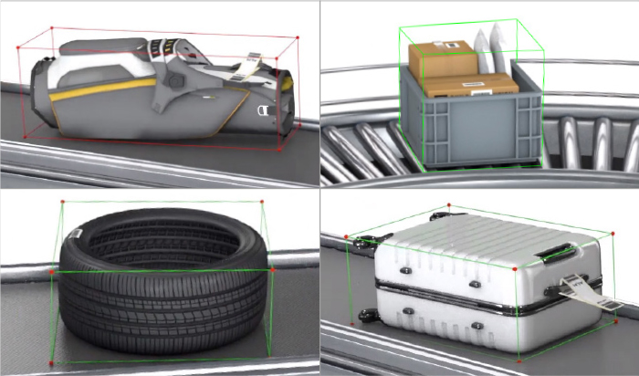 Golf bag, tote, tire, and baggage on conveyers