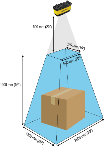 3D-A1000 field-of-view and working distance diagram