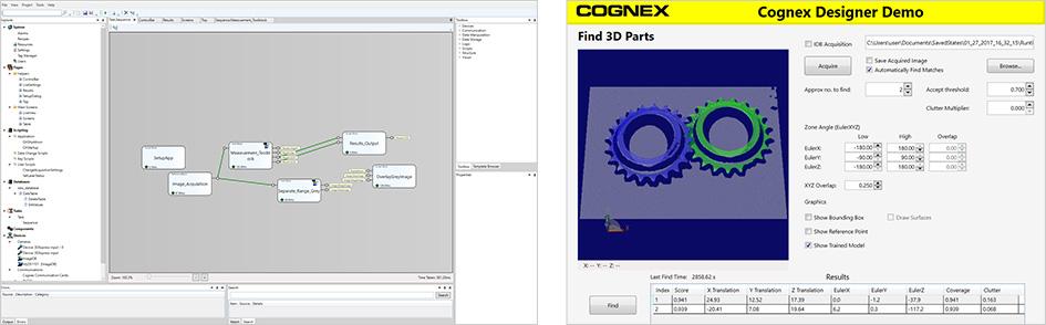 Softwares VisionPro e Cognex Designer em funcionamento