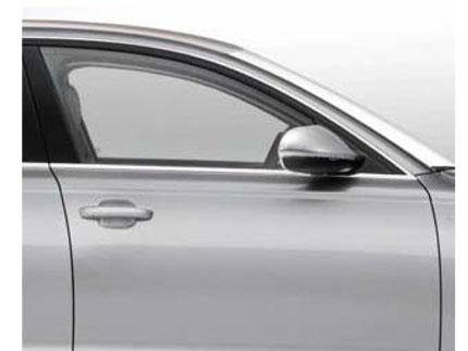 Empty silver car passenger side door