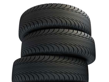 Three Stacked Tires with DOT Codes