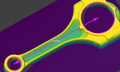 Use the In-Sight 3D-L4000 3D Geometry tool to measure the distance between points and lines