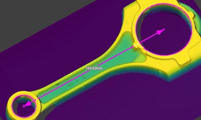 Use la herramienta geométrica In-Sight 3D-L4000 3D para medir la distancia entre puntos y líneas