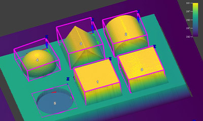 Blob3D 비전 툴은 3D 이미지에서 부품을 찾아 부피를 측정합니다.