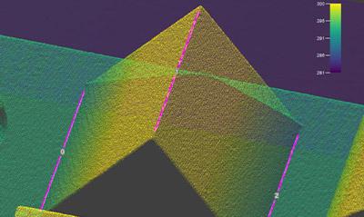 La herramienta de visión Edge3D usa la geometría de la pieza para ubicar de forma confiable los bordes convexos y cóncavos en la imagen 3D.