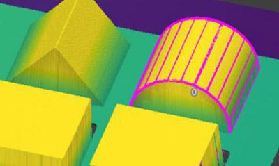 Extract Cylinder3D 비전 툴은 부품의 기하학적 구조를 이용해 위치를 찾고 해당 부품의 원통형 부분을 측정합니다.