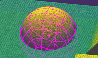 The Extract Sphere3D vision tool uses the geometry of the part to locate and measure spherical sections of the part.