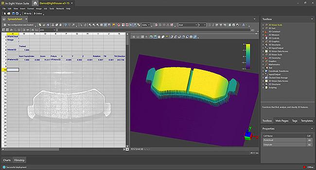 사용자는 In-Sight 스프레드시트를 사용해In-Sight 3D-L4000의 3D 이미지에서 브레이크 패드를 검사할 수 있습니다.