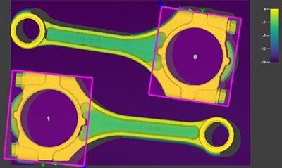 Das PatMax3D-Bildverarbeitungstool erweitert den Standard für Musterabgleich und Teilelokalisierung, wie hier an der Pleuelstange zu sehen ist. Es stellt sicher, dass sich alle Vision-Tools an der richtigen Stelle befinden, um das Teil auf einem 3D-Bild genau zu prüfen.