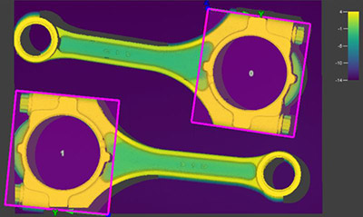La herramienta de visión PatMax3D evoluciona el estándar para la correspondencia de patrones y ubicación de piezas, como se ve en una biela. Garantiza que todas las herramientas de visión estén en la ubicación correcta para inspeccionar de forma precisa la pieza en una imagen 3D.