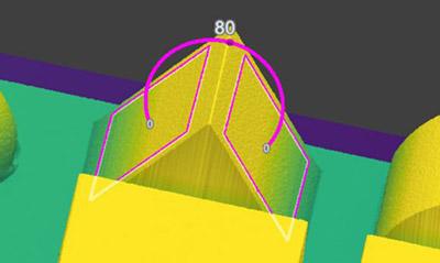 Plano a plano - Ángulo 3D mide el ángulo entre dos planos extraídos.
