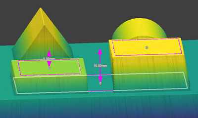Point to Plane3D utilizza caratteristiche estratte per misurare rapidamente le altezze e le distanze dei gradini.