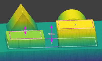 Plane3D (点と平面) は、抽出された特徴からステップの高さと距離をすばやく測定できます。