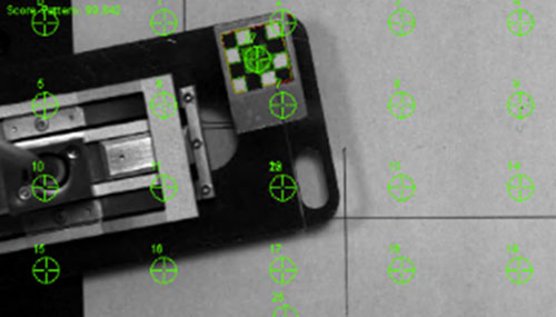 Calibration markings on an image of a mobile phone