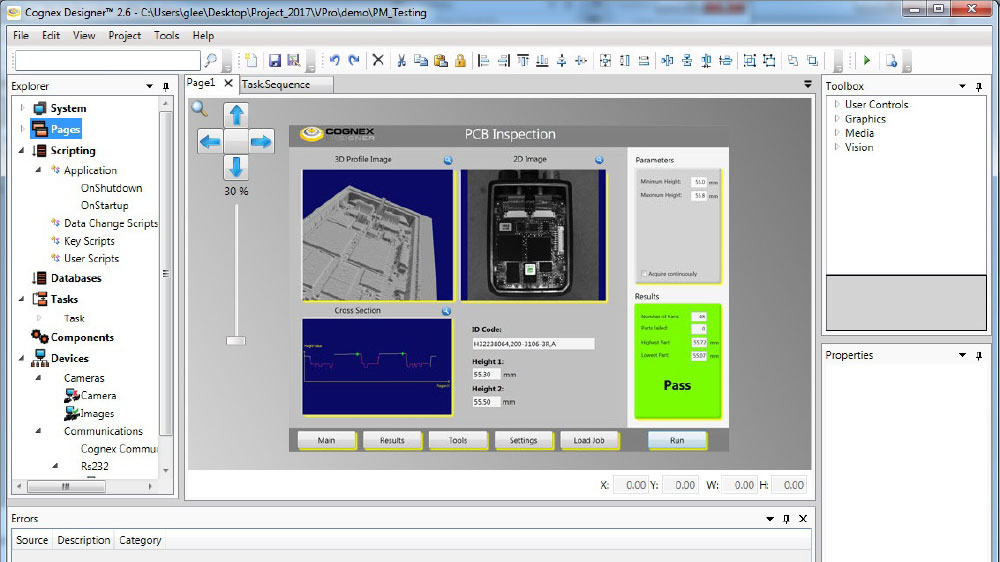 Image 2 - PCB Inspection Application with Cognex Designer