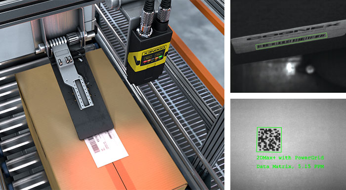 dataman scanning label above packages successfully