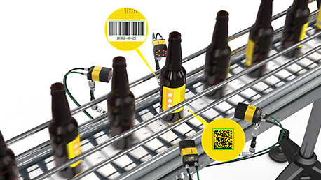 Cognex DM370 application reading different barcodes on high speed beverage bottles