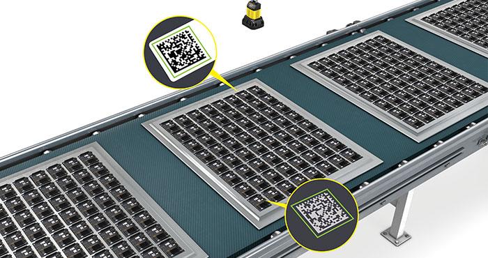 Cognex DM370 application reading numerous datamatrix codes on circuit boards for electronics