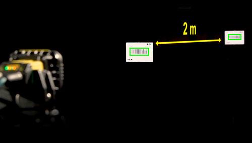 Liquid Lens example reading 1D codes successfully 2m apart