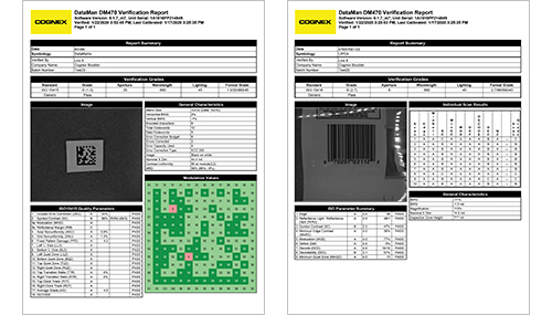 Exported PDF Report images of verification data