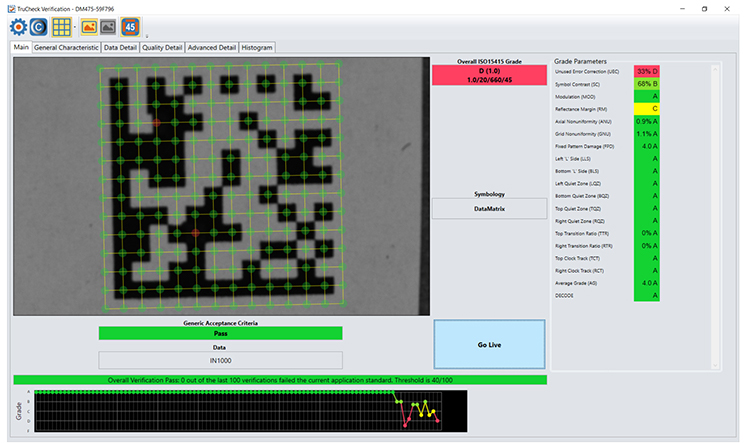 Barcode verification software diagnostic information to identify code quality issues