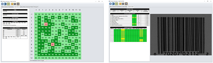 Cognex verification software helps diagnose code quality issues quickly with color-coded visual diagnostics