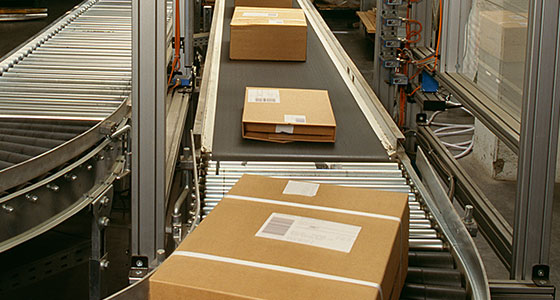 Retail Distribution conveyor line with packages