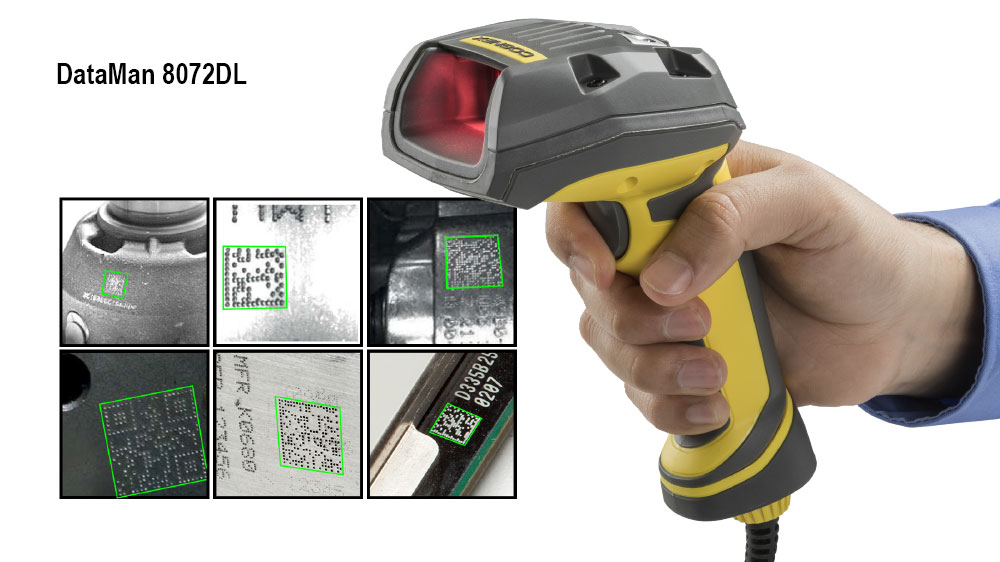 Cognex Dataman 8072L held by male hand examples of successfully read 2D codes