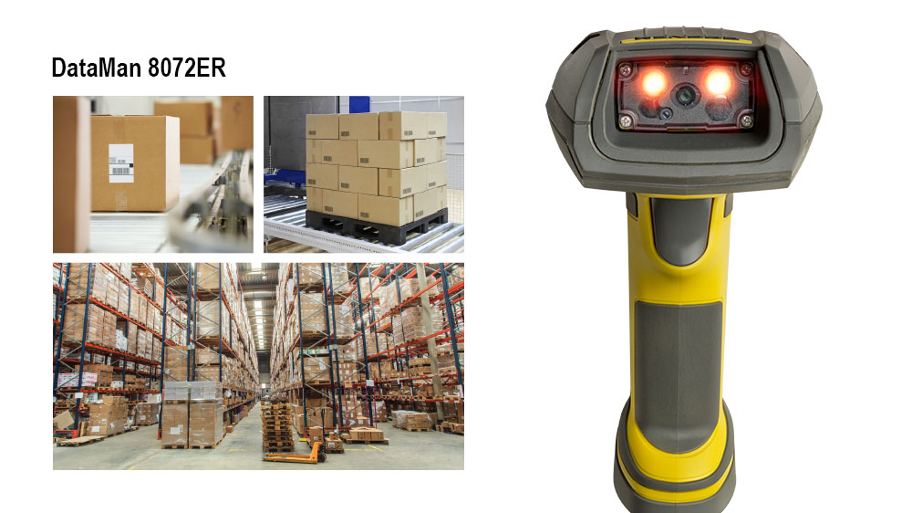 DM8072ER next to packages, pallet, and stocked warehouse