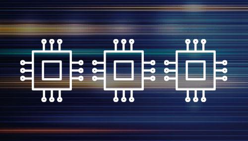 Multi-core processor white icons