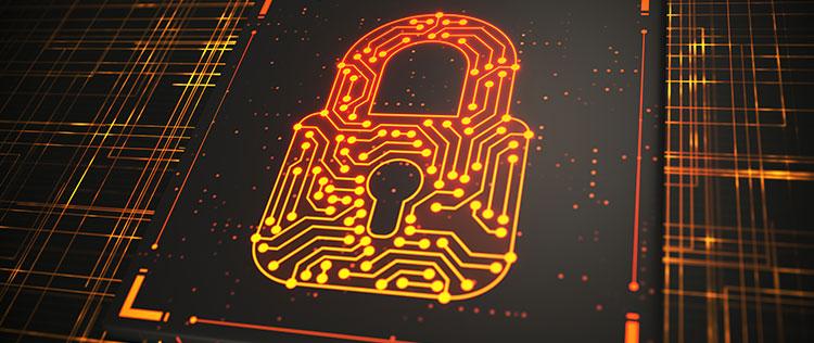 yellow orange data lock icon about securely sharing data