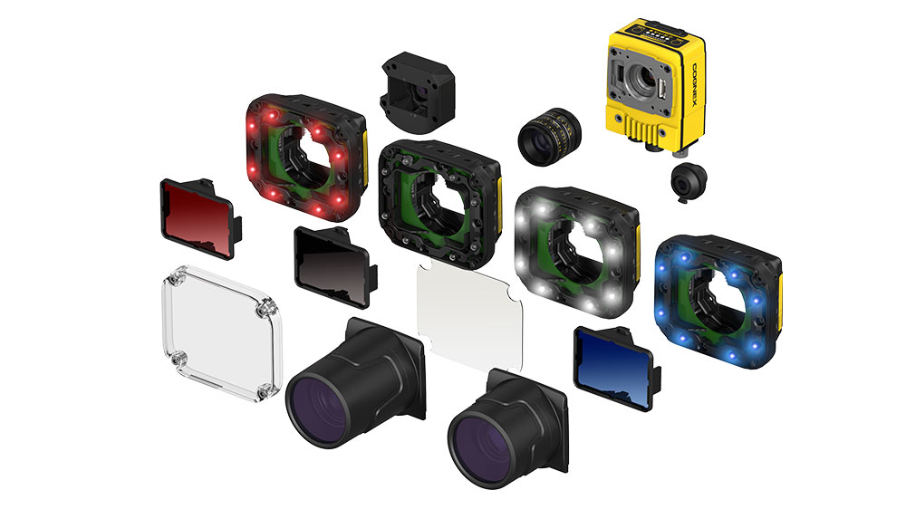 Exploded view of In-Sight 7000 modular interchangeable accessories