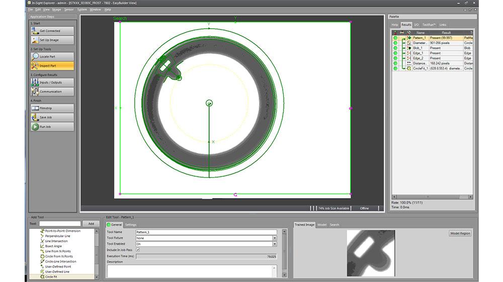 Cognex easybuilder software screenshot example