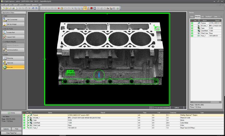 In-Sight EasyBuilder software inspecting engine block