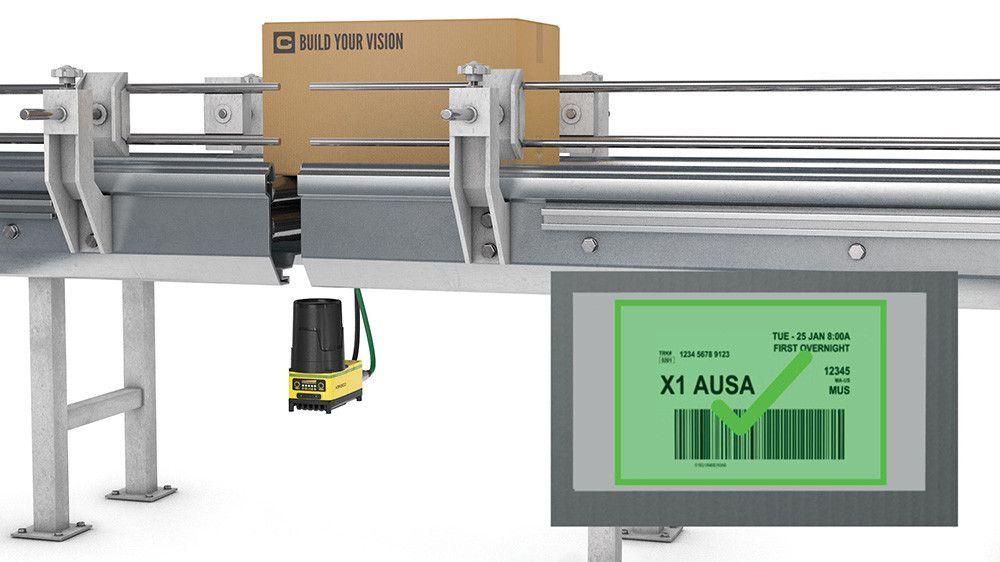 insight9000 line scan inspection from below conveyor belt verified barcode on display