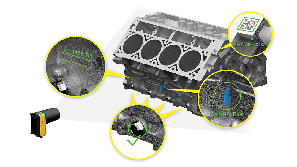 In-Sight 9000 Area scan engine block inspection for OCR, barcode reading, color identification, and assembly verification