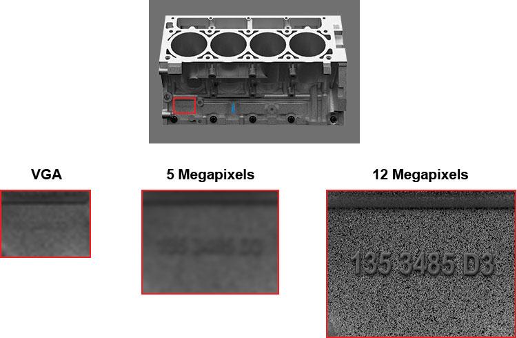 engine block OCR VGA, 5mp, and 12 megapixel comparison