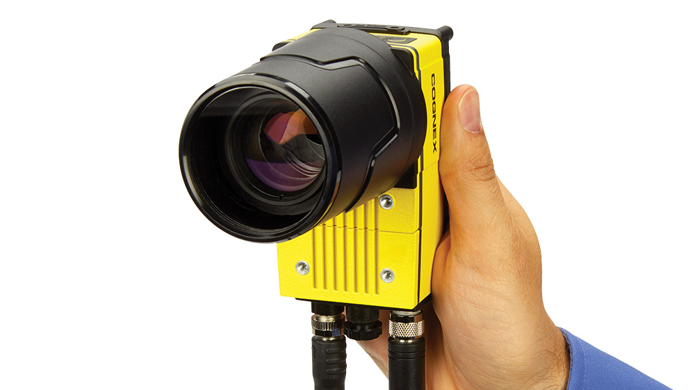 Hand Holding Cognex In-Sight 9902L Line Scan Camera