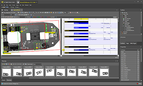 In-Sight Vision Suite - Spreadsheet software interface inspecting computer mouse PCB