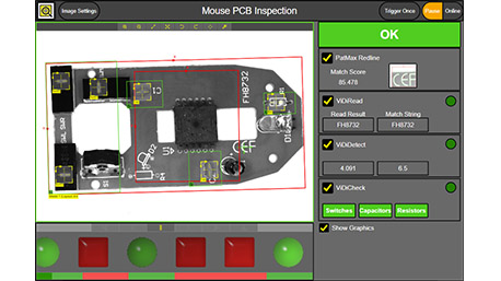 In-Sight Vision Suite Web-based HMI inspecting computer mouse circuit board