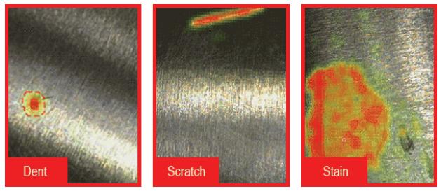 Mit ViDi Classify aufgenommene Bilder, die zwischen Mängeln wie Druckstellen, Flecken und Kratzern unterscheiden